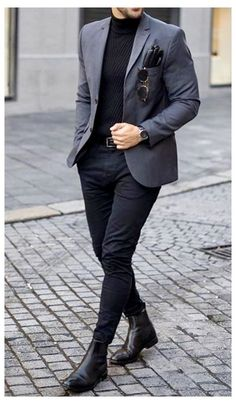 Blazer Outfits Men, Mens Fashion Blazer, Mens Fashion Wear, Mens Casual Suits, Stylish Mens Outfits, Sports Coat And Jeans, Sports Jacket, Grey Blazer With Jeans, Casual Jeans