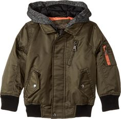 Urban Republic Kids Baby Boy's Hooded Flight Jacket (Toddler) Olive 2T.