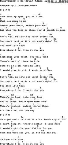 Love Song Lyrics for: Everything I Do-Bryan Adams with chords for Ukulele, Guitar Banjo etc. Learn Guitar Chords, Guitar Chords Beginner, Easy Guitar Songs, Guitar Chords For Songs, Lyrics And Chords, Guitar For Beginners, Love Songs Lyrics, Guitar Lessons, Guitar Tips