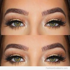 | Brow game on fleek with gold eye makeup for green eyes |