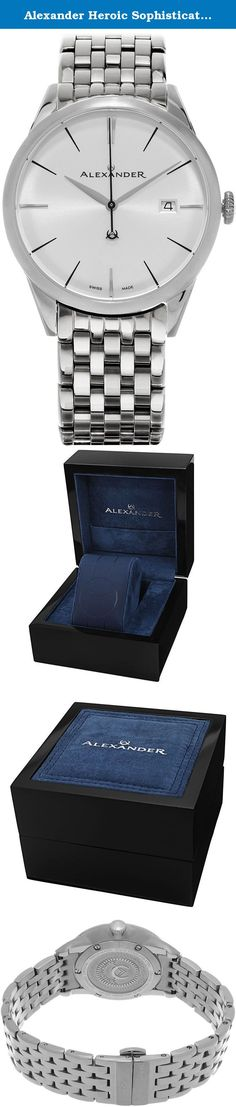 Alexander Heroic Sophisticate Wrist Watch For Men - Silver White Dial Date Analog Swiss Watch - Stainless Steel Bracelet Watch - Mens Designer Watch A911B-04. Alexander Story: Alexander was the pupil of the storied Greek philosopher Aristotle. He was intelligent, quick to learn and extremely well read. His personality defined charisma, and his obsession with success allowed him to conquer most of the known world at the time. He left a significant legacy beyond his conquests as he founded...