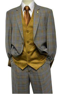 Falcone Mens Gray Gold Plaid Union Vest Fashion Suit 5410-011 IS
