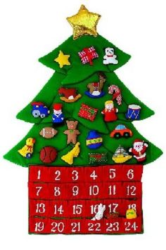"""26"""" Large Fabric Christmas Tree Advent Calendar >>> See this great…"""