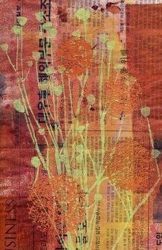 Mixed Media art by Cecilia Swatton using StencilGirl stencils.