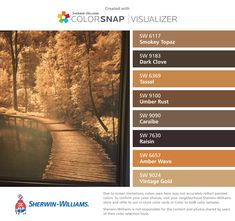 I found these colors with ColorSnap® Visualizer for iPhone by Sherwin-Williams… Rust Color Paint, Paint Color App, Brown Paint Colors, Matching Paint Colors, Paint Color Palettes, Paint Color Schemes, Color Paints, Paint Colors For Living Room, Paint Colors For Home