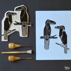 Bird Block Print Stamps by Andrea Lauren