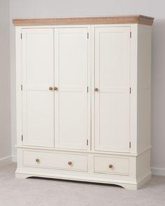 Country Cottage Painted Funiture Bedroom | Cream Triple Wardrobe Oak Furniture Land www.oakfurnitureland.co.uk
