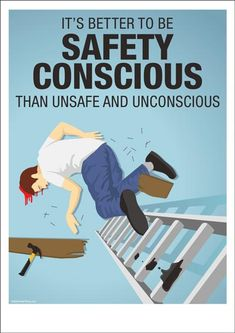 Health And Safety Poster, Safety Posters, Safety Slogans, Construction Safety, Industrial Safety, Workplace Safety, Ladder, Infographic, Classroom