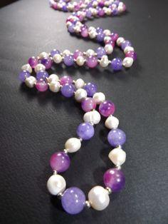 Collana modello chanel con perle coltivate ed ametista