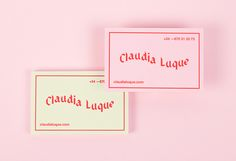 "Business cards and self-branding by Claudia Luque ""Business cards for the promotion and release of my work as graphic designer."" Claudia Luque is a graphic designer based in Tenerife, Spain. In her work, she is focused on branding, editorial design,. Identity Design, Graphic Design Branding, Stationery Design, Logo Design, Design Design, Self Branding, Branding Ideas, Identity Branding, Visual Identity"