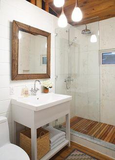 warm, spa like bathroom with teak slats in the shower