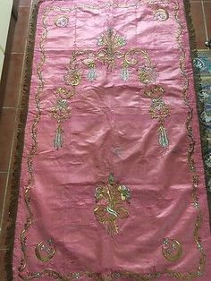 Antique Ottoman Turkish Gold Metallic Hand Embroidery On Silk Prayer Rug