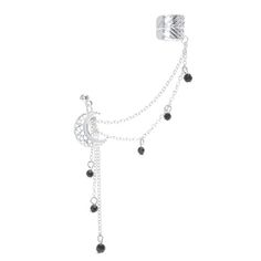 Silver Moon Bead Drop Ear Cuff