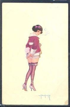 PY155-ART-DECO-a-s-PELTIER-RISQUE-EROTIC-SEXY-OUTFIT-LADY-CIGARETTE-PARISIENNE