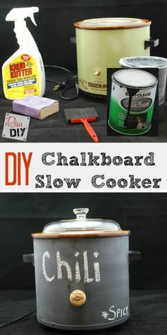 This crockpot makeover will transform outdated crockpot with chalkboard paint. Make it look new again and write on it! Great entertaining & Tailgate Party! http://divaofdiy.com/easy-crockpot-makeover/