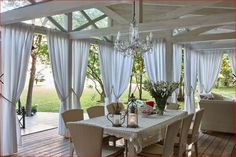 This unique photo most certainly is an inspirational and glorious idea Wooden Pergola, Backyard Pergola, Outside Living, Outdoor Living, Outdoor Curtains For Patio, Harvey House, Deck Decorating, Interior And Exterior, House Design