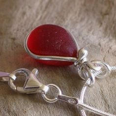 Natural Sea Glass Sterling Silver Inlay Bezel Petite Pendant Necklace Rare Red…