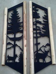 Clingermans Deer Pinetree Window Shutters Rustic Log Cabin Decor Whitetail Deer | eBay