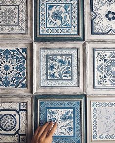 Fabulous Blue Colors and Romantic Patterns, Ceramic Tiles Painting by Anastasia Ropalo Painting Ceramic Tiles, Tile Art, Ceramic Art, Framed Fabric, Fabric Wall Art, 3d Wanddekor, Blue Pottery, Hand Painted Ceramics, White Decor