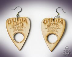 wood Ouija planchette earrings  smarmyclothes by smarmyclothes, $17.00