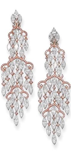 Rose Gold Chandelier diamond earrings by Michael Youssofian.-HT