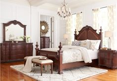 picture of Cortinella Cherry 5 Pc Queen Poster Bedroom  from Queen Bedroom Sets Furniture
