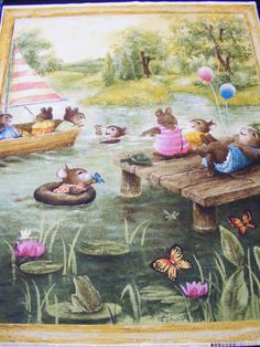 Sunny Pond Fabric Panel Wall Hanging or Quilt Playful Mice Butterflies Cotton   eBay