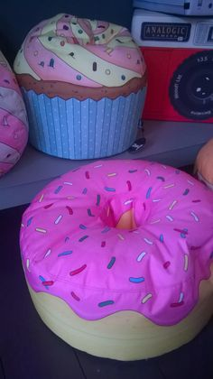 Kawaii doughnut and cupcake beanbag cushions found in Edited, Gardner Street, Brighton