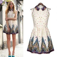 SUPER cute dress and super affordable.. USD12.99 Fashion O Neck Tank Sleeveless Waist Cotton Mini Dress