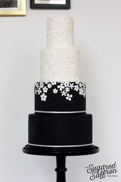 Fabulous Wedding Cakes From Sugared Saffron Cake Studio; Fabulous Wedding Cakes From Sugared Saffron Cake Studio; Black White Cakes, Black And White Wedding Cake, White Wedding Cakes, Beautiful Wedding Cakes, Gorgeous Cakes, Dream Wedding, Cake Wedding, Saffron Cake, Elegant Cake Design