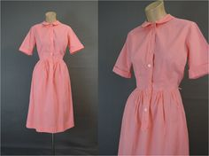 1960s Shirtwaist Cotton Dress, 38 bust, Vintage Bright Coral Day Dress by dandelionvintage on Etsy