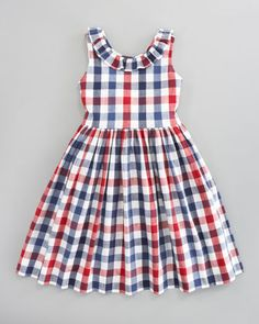 Oscar de la Renta Check Party Dress (back view) - Bergdorf Goodman Baby Girl Party Dresses, Kids Outfits Girls, Little Girl Dresses, Toddler Outfits, Girl Outfits, Girls Dresses, Baby Dress Design, Frock Design, Abaya Designs Latest