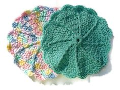 Pretty Pastel Green & Yellow Dish Cloth Set by ACCrochet on Etsy, $9.00