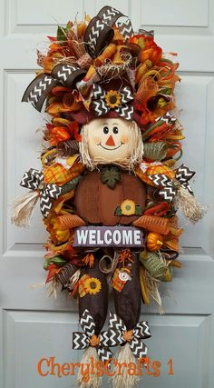 Your place to buy and sell all things handmade Fall Mesh Wreaths, Autumn Wreaths For Front Door, Holiday Wreaths, Wreath Fall, Door Wreath, Thanksgiving Wreaths, Thanksgiving Decorations, Fall Decorations, Halloween Yard Art