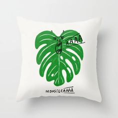 Monstera Throw Pillow by ilovedoodle - Cover x with pillow insert - Indoor Pillow Throw Cushions, Couch Pillows, Designer Throw Pillows, Down Pillows, Accent Pillows, Garden Nursery, Monstera Deliciosa, Fluffy Pillows, Tooth Fairy
