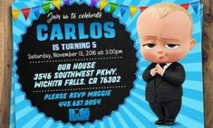 Cool Boss Baby Birthday Invitation Template 23 On Editable By Boss Baby Birthday Invitation Template Boy Christening, Baby Baptism, Baptism Party, Photo Invitations, Digital Invitations, Printable Invitations, Invites, Printables, Birthday Invitation Templates
