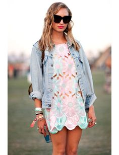 Pair a minidress with a denim jacket for a fresh festival look #Fashiolista #Inspiration