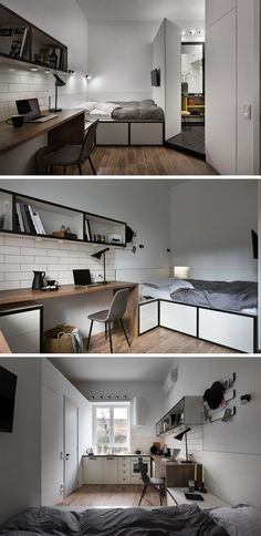 This Small Apartment Maximizes Its 186 Square Feet With Efficient Design The bed of this tiny apartment has been slightly raised to provide storage beneath it, while a wall-mounted television allows the bed to be also used as a place to watch TV. Studio Apartment Decorating, Apartment Interior Design, Home Interior, Modern Small Apartment Design, Small Apartment Layout, Tiny Apartments, Tiny Spaces, Studio Apartments, Appartement Design