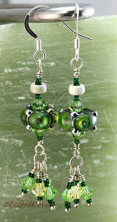 Green Handmade Artisan betsybeads Lampwork Beads by betsymn, $25.00