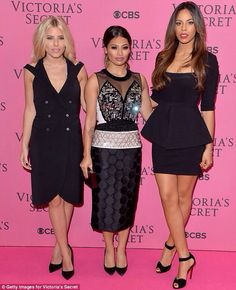 Mollie King Photos - Mollie King, Vanessa White and Rochelle Humes of The Saturdays attend the pink carpet of the 2014 Victoria's Secret Fashion Show on December 2014 in London, England. - Arrivals at the Victoria's Secret Fashion Show Mollie King, Dress And Heels, The Dress, Peplum Dress, Celebrity Outfits, Celebrity Look, Enjoy Girl, Rochelle Humes