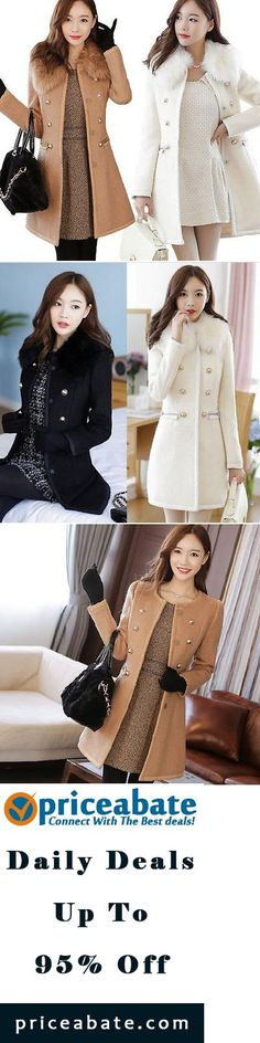 #blackfriday #blackfridaydeals #blackfridaysales Sexy Women Slim Wool Faux Fur Trench Parka Double-Breasted Winter Coat Jacket - Buy This Item Now For Only: $29.44