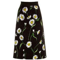 Dolce & Gabbana Margherite-print and rose-jacquard skirt (1 390 AUD) ❤ liked on Polyvore featuring skirts, black, flower skirt, print skirt, midi skirt, patterned skirt and daisy print skirt