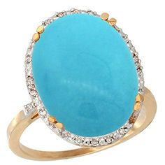 14K Yellow Gold Natural Turquoise Rin…
