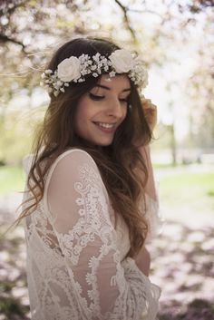 The Olivia White Rose and Baby Breath Flower Hair Crown Headband