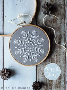 I could see this in bright, spring colours... Snowflake Mandala: Winter inspired embroidery freebie