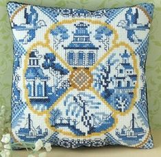 This Willow Pattern mini cushion cross stitch kit includes: white aida fabric, ready-sorted DMC stranded cotton threads on a card sorter, needle, backing fabric, b&w symbol chart and instructions (cushion filler not included). Cross Stitch Designs, Cross Stitch Patterns, Stitching Patterns, Embroidery Patterns, Quilt Patterns, Willow Pattern, Needlepoint Kits, Needle And Thread, Pin Cushions