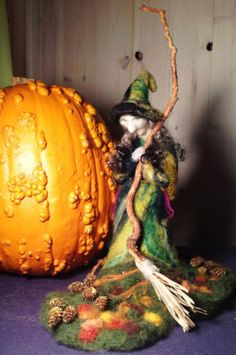 Needle Felted Fall Witch by Carl Rehbach
