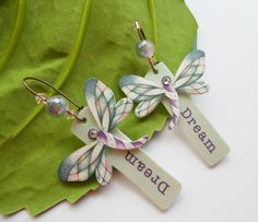 Dream Dragonfly Earrings. Plastic Shrink Art by MeadowArtShop, $18.00