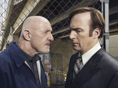 Jonathan Banks as Mike Ehrmantraut and Bob Odenkirk as Saul Goodman - Better Call Saul _ Walter White, Netflix, Serie Breaking Bad, Better Call Saul, Michael Mckean, Jonathan Banks, Saul Goodman, Vince Gilligan, Tv Show Casting
