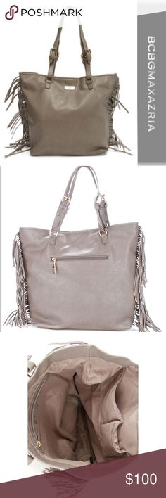 """HP NWT BCBG Taupe Paris Fringe Bag An amazing bag with an even better price! This is a NWT BCBG bag in taupe that has studded fringe down both sides. The straps are adjustable so it will suit your comfort needs! Magnetic top closure, 1 zippered pocket on the back, with 1 zippered pocket inside and two slip pockets. Measures approximately 13.5"""" x 16.5"""" x 4"""" with an 8"""" drop. One small mark on lining (pictured) might be able to get it out but haven't tried yet! Host Pick 6/27 Jet Set Style BCBG…"""